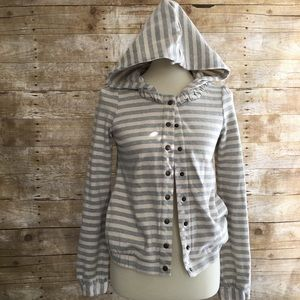 SATURDAY SUNDAY snap front striped hoodie